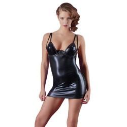 Vestito nero in pelle con spalline
